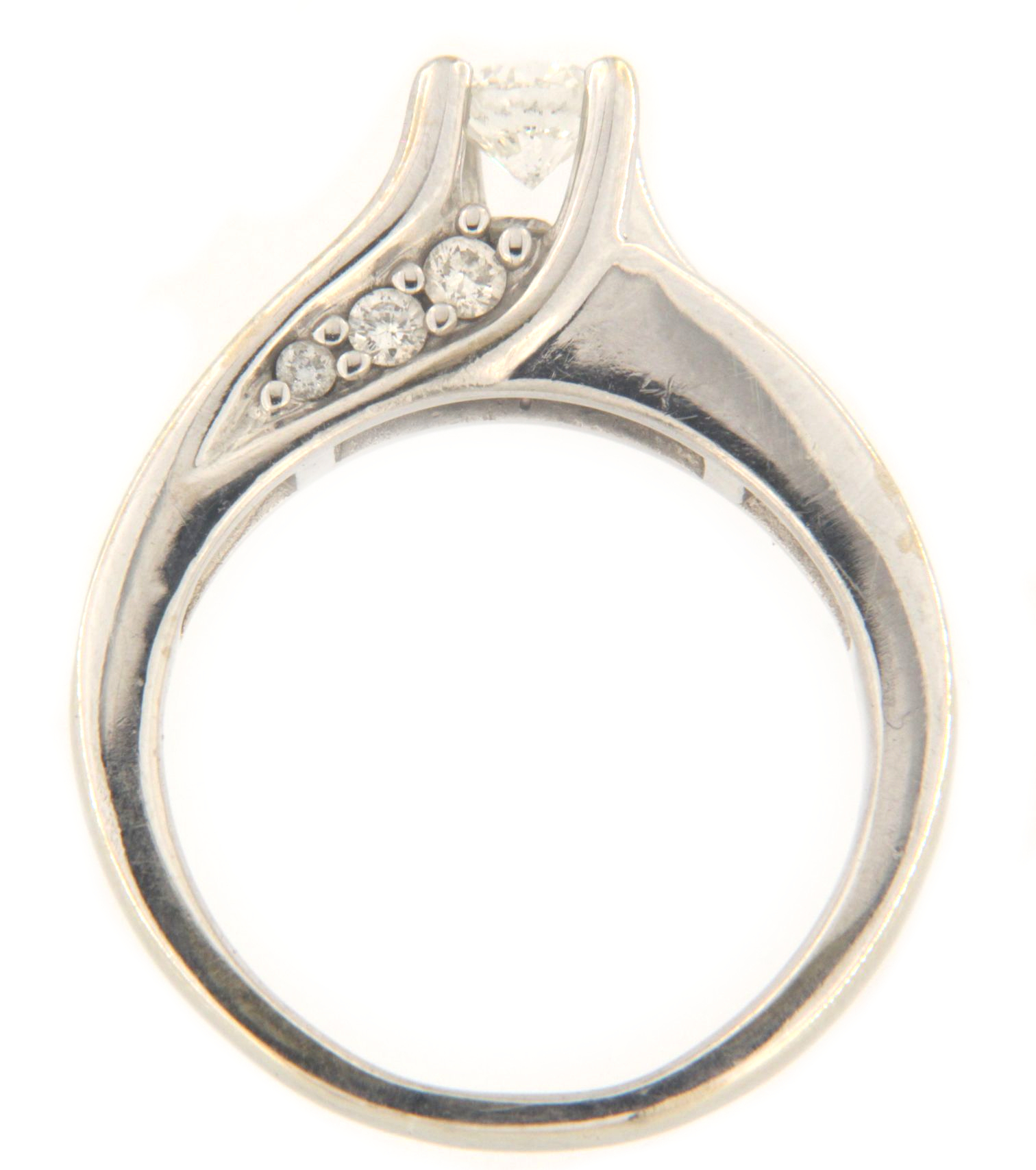 Women's Solitaire ring 14kt White Gold-img-5
