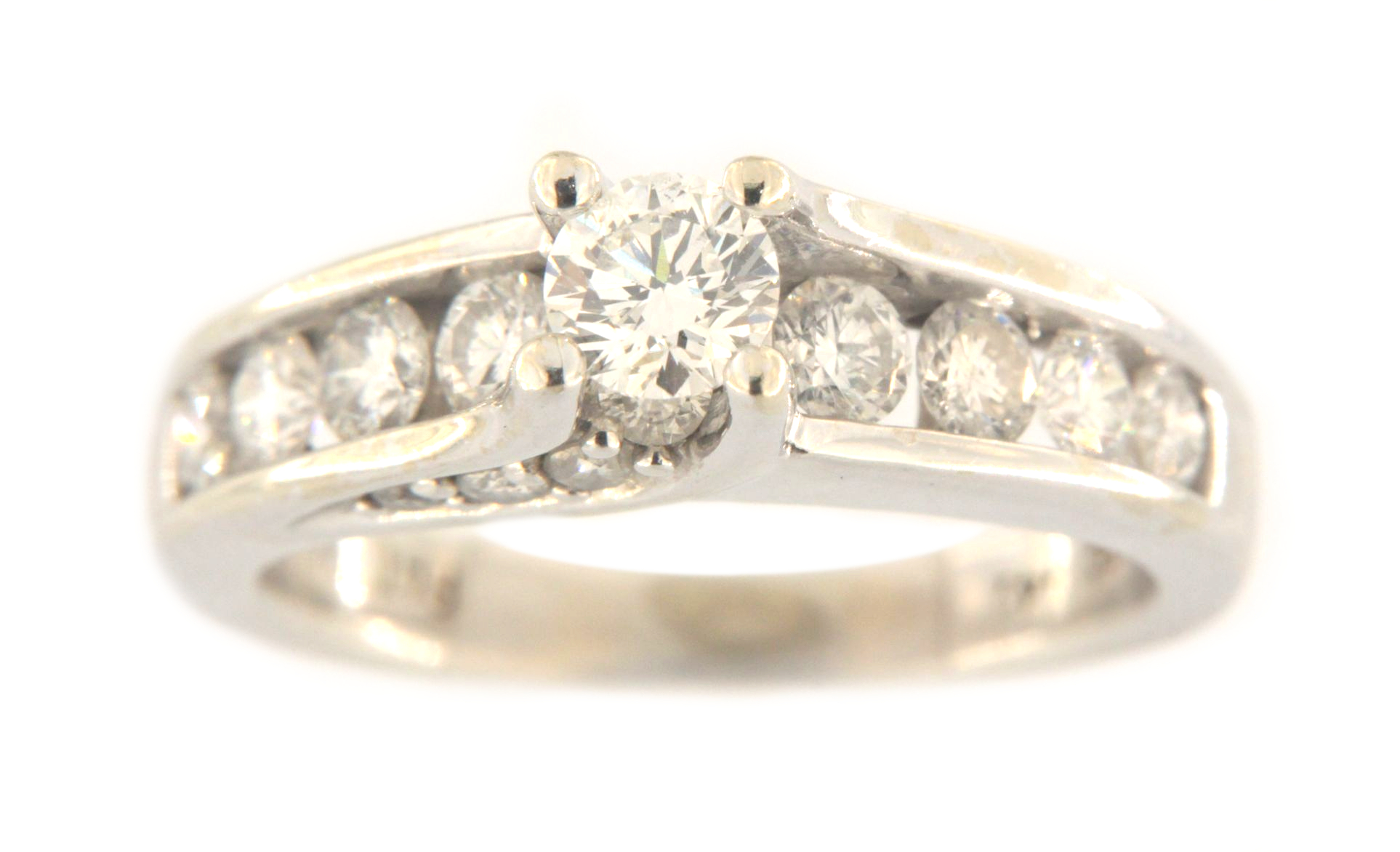 Women's Solitaire ring 14kt White Gold-img-7